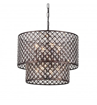 Marya 8-Light Antique Copper Round Double Beaded Drum Shade Crystal Chandelier