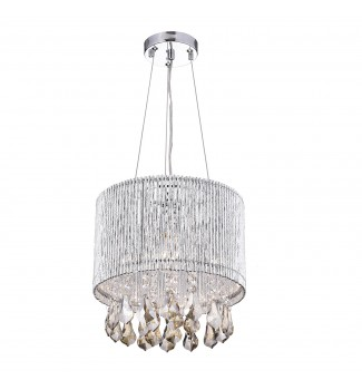 Pamina 1-Light Chrome Tubes Drum Pendant Fixture with Hanging Amber Crystals
