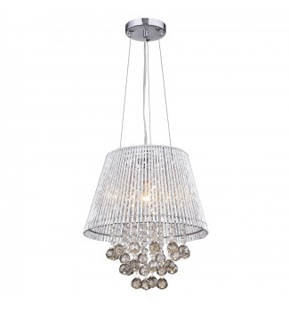 Pamina 1-Light Chrome Tubes Drum Pendant Fixture with Hanging Round Crystals