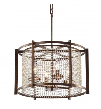 4-Light Rustic Finish Round Crystal Chandelier with Glass Beaded Strand Drum