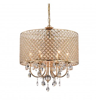 6-Light Gold Round Beaded Drum Chandelier with Hanging Crystals