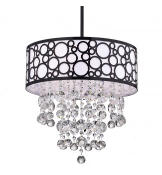 3-Light Black Bubble Round Drum Crystal Chandelier Pendant Ceiling Fixture
