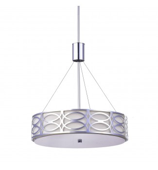 5-Light Chrome Metal and Ivory Linen Round Drum Pendant Chandelier