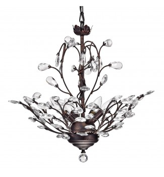 4-Light Antique Copper Finish Vine and Crystal Chandelier Ceiling Fixture