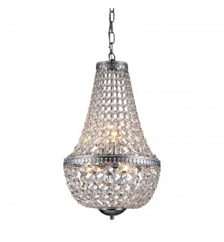 6-Light Chrome Empire Crystal Chandelier Pendant Ceiling Fixture