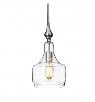 1-Light Brushed Nickel Inverted Jar Glass Shade Mini Pendant Ceiling Fixture