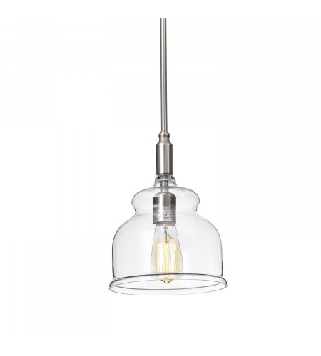 1-Light Brushed Nickel Hand blown Bell Glass Shade Mini Pendant Ceiling Fixture