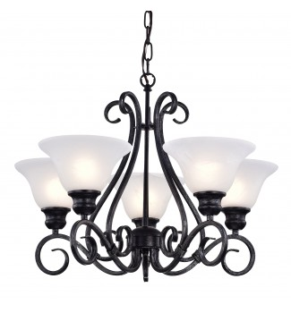 5-Light Classic Black Iron Dining Living Room Hanging Chandelier Ceiling Fixture