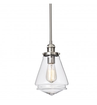 1-Light Brushed Nickel Encased Jar Hand Blown Glass Shade Mini Pendant