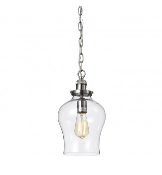 1-Light Brushed Nickel Hand Blown Tulip Glass Shade Mini Pendant Ceiling Fixture