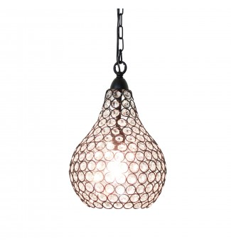 Corona 1-Light Pear Shaped Black and Crystal Mini Pendant Chandelier