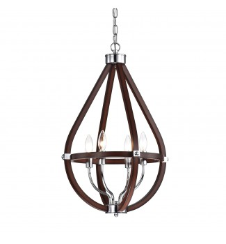 4-Light Wood and Chrome Teardrop Chandelier Pendant Ceiling Fixture