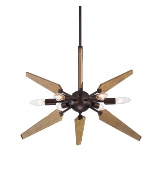6- Light Wood and Oil Rubbed Bronze Sputnik Pendant
