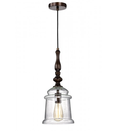 1-Light Oil Rubbed Bronze Pendant with Glass Bell Jar Shade