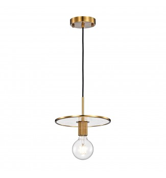 1-Light Antique Gold Pendant with Seedy Glass Disc