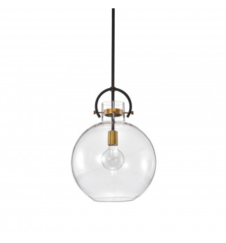 1-Light Oil Rubbed Bronze and Antique Gold Pendant With Clear Glass Shade