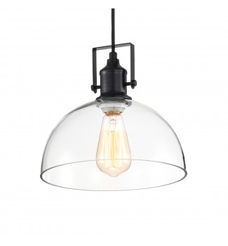 1-Light Black Farmhouse Pendant Ceiling Fixture with Clear Glass Shade and Wire