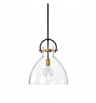 1-Light Oil Rubbed Bronze and Antique Gold Bowl Shaped Clear Glass Pendant