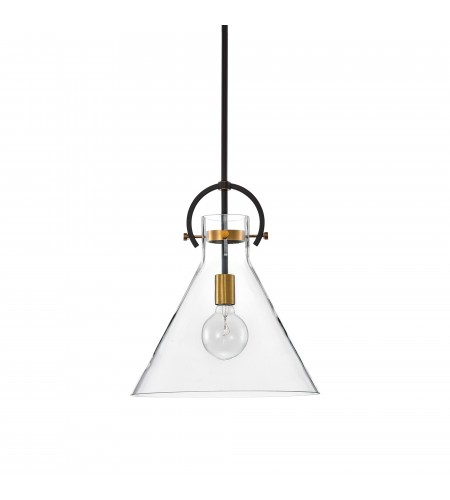 1-Light Oil Rubbed Bronze and Antique Gold Pendant with Clear Cone Glass Shade