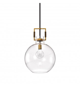 1-Light Oil Rubbed Bronze and Antique Gold Globe Shaped Clear Glass Pendant