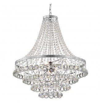 7-Light Chrome and Crystal Empire Four Tier Chandelier