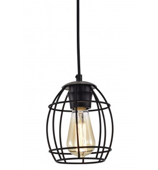 1-Light Black Cage and Wood Finish Pendant