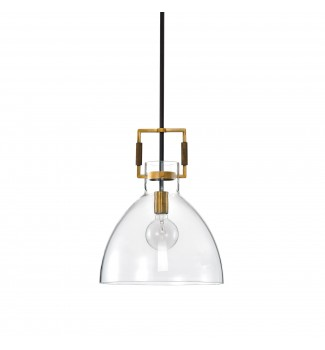 1-Light Oil Rubbed Bronze and Antique Gold Glass Bowl Pendant