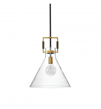 1-Light Oil Rubbed Bronze and Antique Gold Cone Glass Pendant