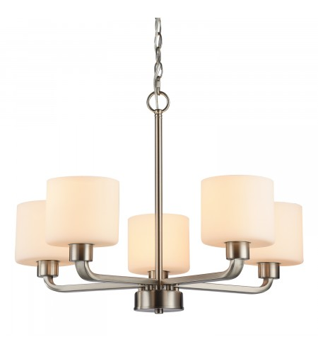Gomeisa 5-Light Brushed Nickel Etched White Glass Ceiling Fixture Chandelier