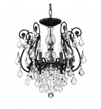 6-Light Antique Black Finish Chandelier Wrought Iron Ceiling Light Fixture