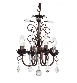 4-Light Antique Copper and Crystal Chandelier with Hanging Crystals