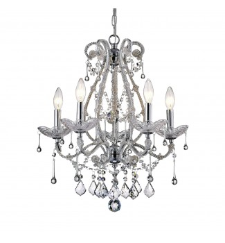 Alice 5-Light Chrome and Crystal Candle Style Chandelier