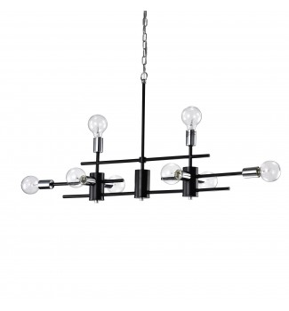 8-Light Black and Chrome Exposed Bulb Linear Chandelier