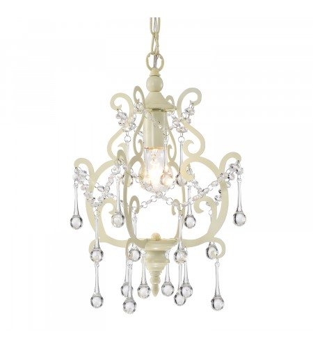 1-Light Ivory White Mini Pendant Chandelier with Raindrop Crystals