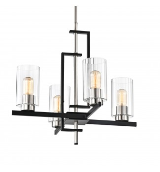 4-Light Black and Brushed Nickel Pendant Chandelier Clear Beveled Glass Shades