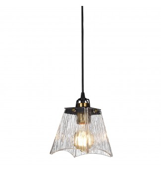 1-Light Black and Antique Gold Mini Pendant with Verre Strie Glass