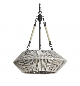 3-Light Black Steel and Antique Silver Bamboo Drum Chandelier