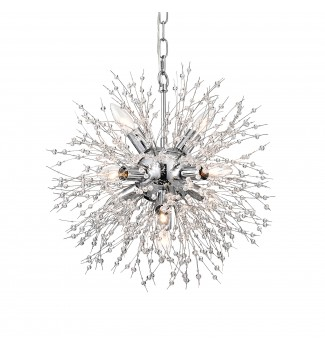 Uptown 8-Light Chrome Sphere  and Crystal Beaded Wire Orb Glam Chandelier