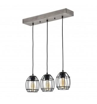 3-Light Wood and Black Caged Pendant