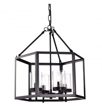 4-Light Oil Rubbed Bronze Hexagon Lantern Cage Chandelier