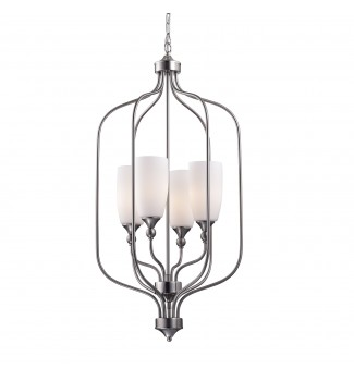 4-Light Etched White Glass Shade Brushed Nickel Cage Chandelier