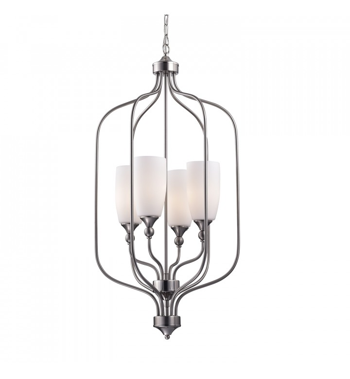 4 Light Etched White Glass Shade Brushed Nickel Cage Chandelier