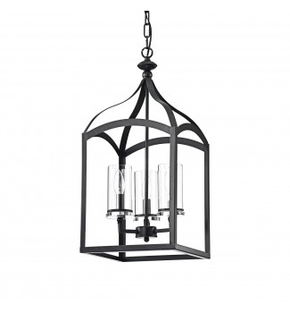3-Light Antique Black Lantern Pendant Chandelier with Glass Shades