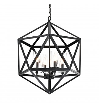 4-Light Geometric Iron Antique Black Glass Shade Cage Chandelier