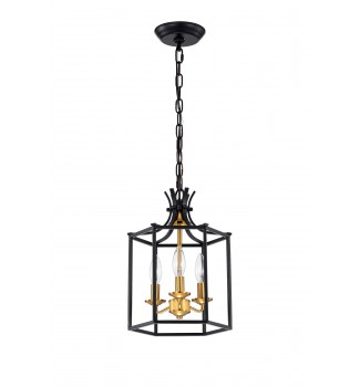 3-Light Black and Antique Gold Lantern Statement Chandelier