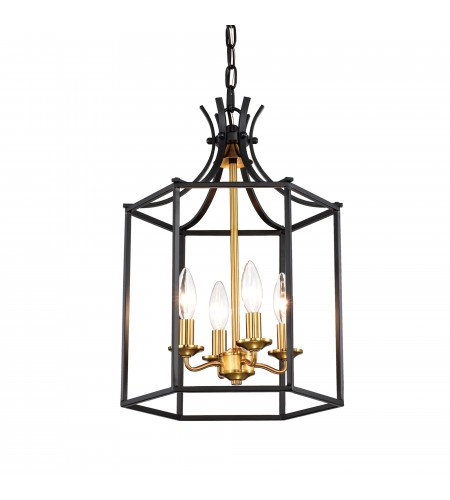 4-Light Statement Black and Gold Lantern Chandelier
