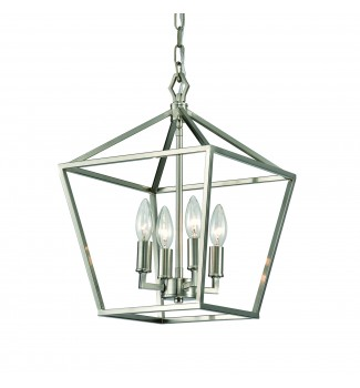 4-Light Brushed Nickel Lantern Pendant Chandelier 12 in