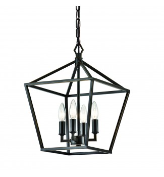 4-Light Oil Rubbed Bronze Lantern Pendant Chandelier 12 in
