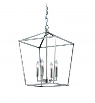 4-Light Brushed Nickel Lantern Pendant Chandelier 16 in