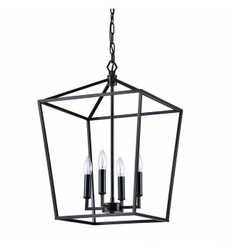 4-Light Oil Rubbed Bronze Lantern Cage Pendant Chandelier